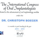 International Congress of Oral Implantologists (ICOI) – Member-Certificate 2014/2015
