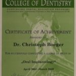 Oral Implantology, Achievement-Award of the New York University, College of Dentistry