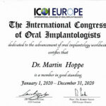 International Congress of Oral Implantologists (ICOI) - Member-Certificate 2020